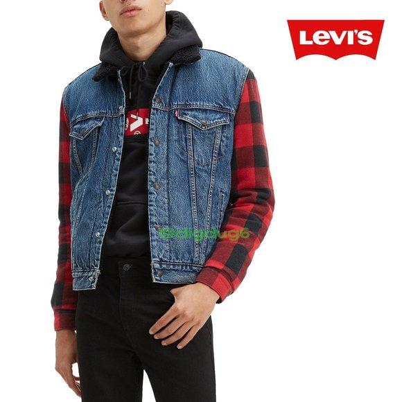 Levi's Hybrid Buffalo Plaid Denim Trucker Jacket